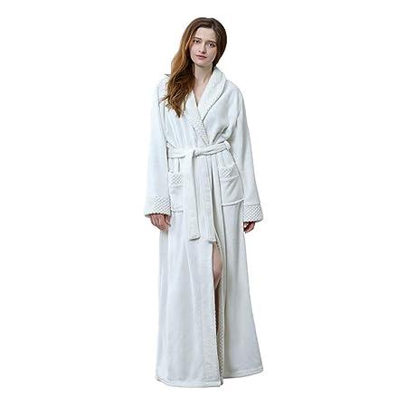 c85b7b6936 Luxurious Women Men Fleece Flannel Sleepwear Warm Shawl Collared Thicker  Long Unisex Bath Robe Couple Pajamas