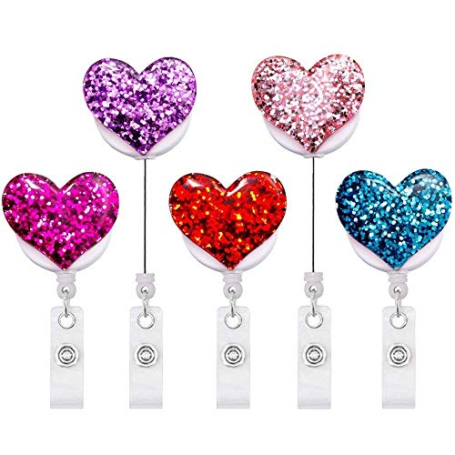 Bling Heart Bling (Bling Popular Love Heart Retractable Badge Holder, ID Badge Reel with Alligator Swivel Clip, 5 Pack)