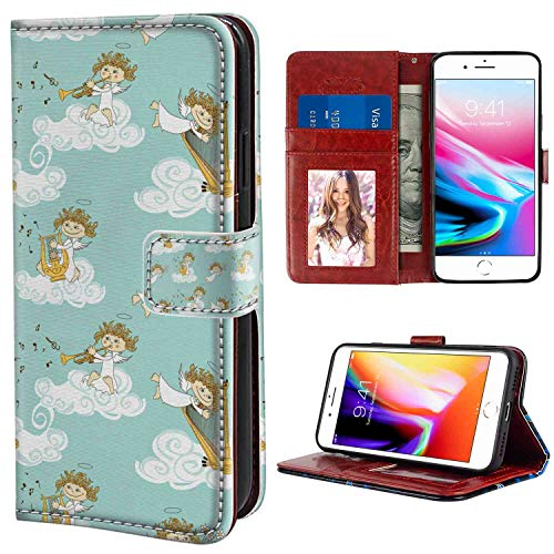 (Angel Angels Playing Harp in Sky Clouds Myth Folk Lyre Folk Music Band Joy Seafoam White Earth Yellow Design Leather Case for iPhone 7 Plus & 8 Plus (5.5 Inch) with Card Holder Case)