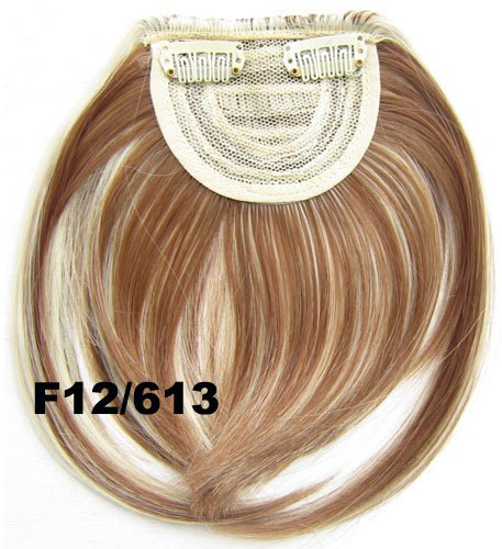Silmei Fashion Fiber Synthetic Clip on Clip in Front Hair Bangs Fringe Hair Extension Hair Piece 30g (F14/613#) Fashionline