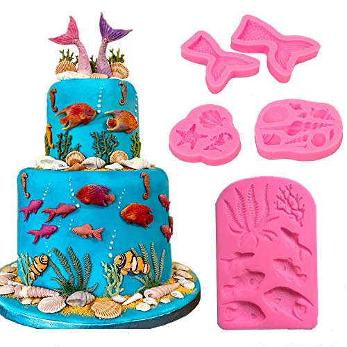 Marine Theme Fondant Silicone Mold,Seashell,Mermaid Tail,Seaweed,Coral,Fish DIY Handmade Baking Tools for Mermaid Theme Cake Decoration,Chocolate,Candy,Fondant,Polymer Clay,Crafting Projects (Food Safe Clay Molds)