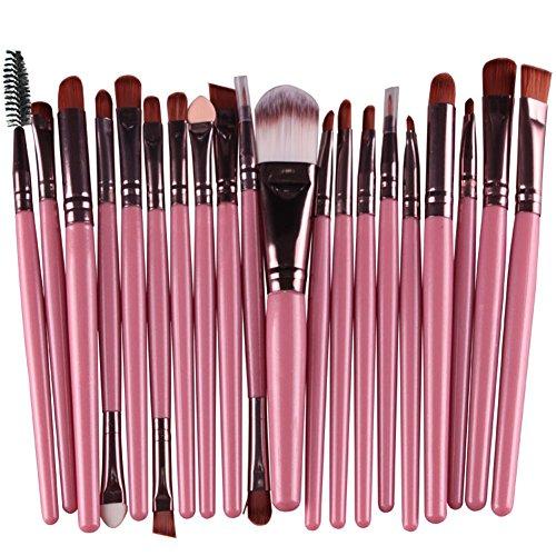 KOLIGHT Set of 20pcs Cosmetic Makeup Brushes Set Powder Foundation Eyeliner Eyeshadow Lip Brush for Beautiful Female (Pink+Coffee)