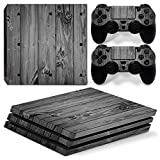 Chickwin PS4 Pro Vinyl Skin Full Body Cover Sticker Decal For Sony Playstation 4 Pro Console and 2 Dualshock Controller Skins (Wood Grey)