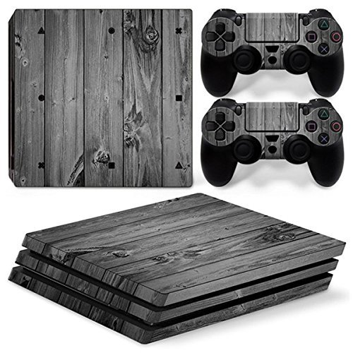 Chickwin PS4 Pro Vinyl Skin Full Body Cover Sticker Decal For Sony Playstation 4 Pro Console and 2 Dualshock Controller Skins (Wood Grey) (Keyring Ham West)