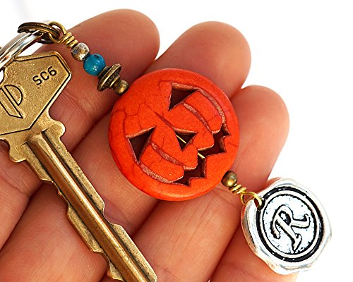 Halloween Carved Face Pumpkin Charm Keychain Orange Turquoise Key Chain Initial Monogram Silver Wax Seal Custom Keyring Personalized Gift for men women Costume Accessory Handmade by -
