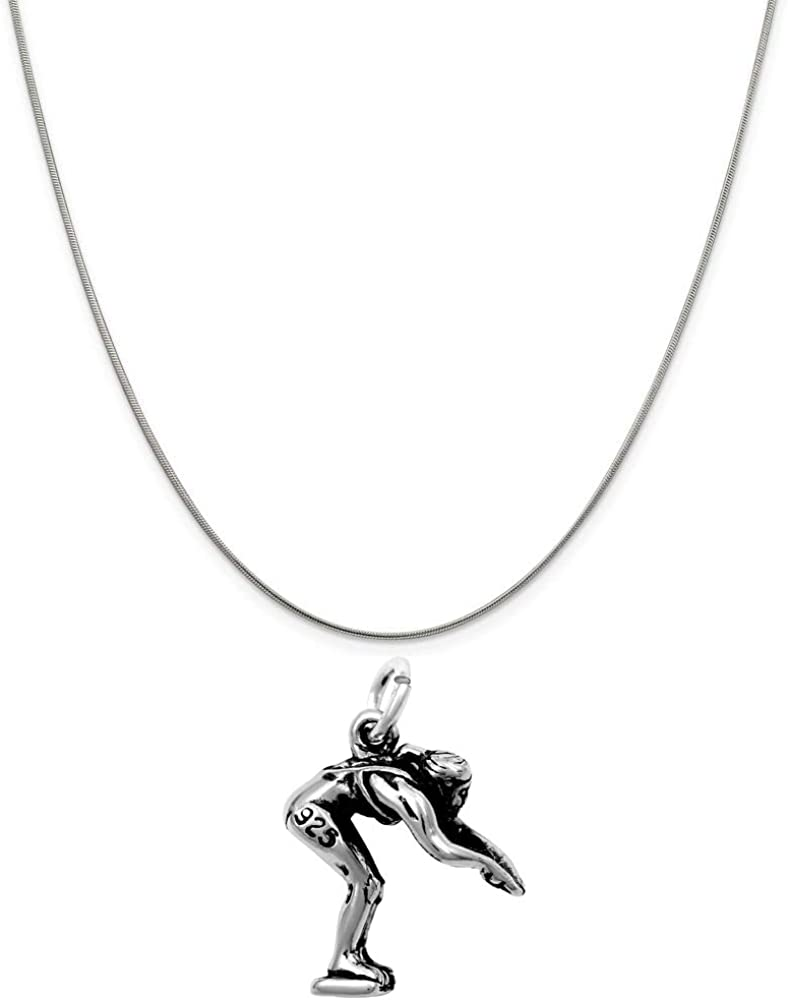Raposa Elegance Sterling Silver 3D Diving Swimmer Charm on a 16 Snake Chain Necklace