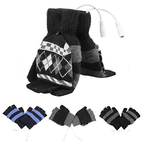 Laptop Women's Men's USB Heated Half & Full Finger Winter Warm Hand Gloves Warmer Wool