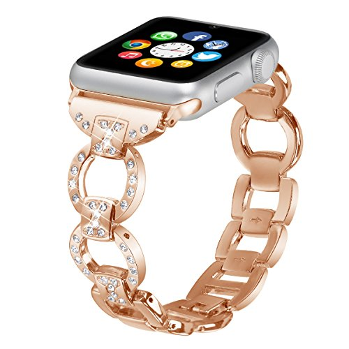 Brooben Bling Bands For Apple Watch Band Fashion Rhinestones Metal Replacement Wristband Sport Strap for 38mm Apple Watch Nike+, Series 3, Series 2, Series 1,Sport,Edition - Metal Fashion