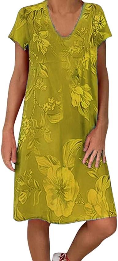 VEMOW Vestido Mujer Verano Camiseta Informal Casual Tallas Grandes con Estampado Floral De Manga Corta con Cuello En V para Mujer SeñOras Tallas Grandes Vestidos De Playa: Amazon.es: Ropa y accesorios