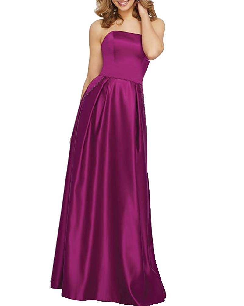 Fuchsia Stylefun Women's Satin Bridesmaid Dress Long Prom Dresses with Pocket BD88008