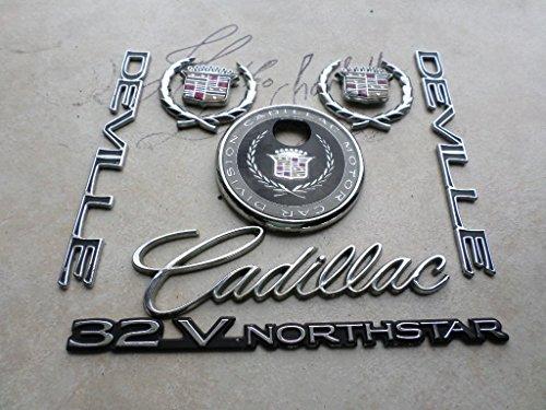 97-99 Cadillac Deville 32V Northstar Crown Wreath Fender Ornament Rear Trunk Keyhole Emblem 25636490-91 Logo Set of 9 Decals . (Northstar Ornament)