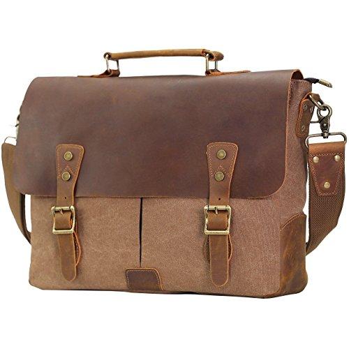 Berchirly 15.6inch Office Briefcase Leather Canvas Laptop Satchel Messenger Work Bag