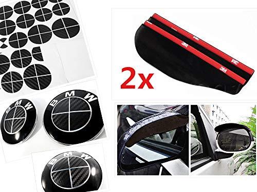 ALL BLACK Carbon Fiber Sticker Overlay Vinyl for All BMW Emblems Caps Logos Roundels (Black Carbon Fiber Bmw Emblem)