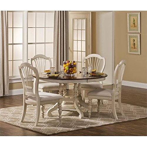 Bowery Hill 5 Piece Round Dining Set in Old White