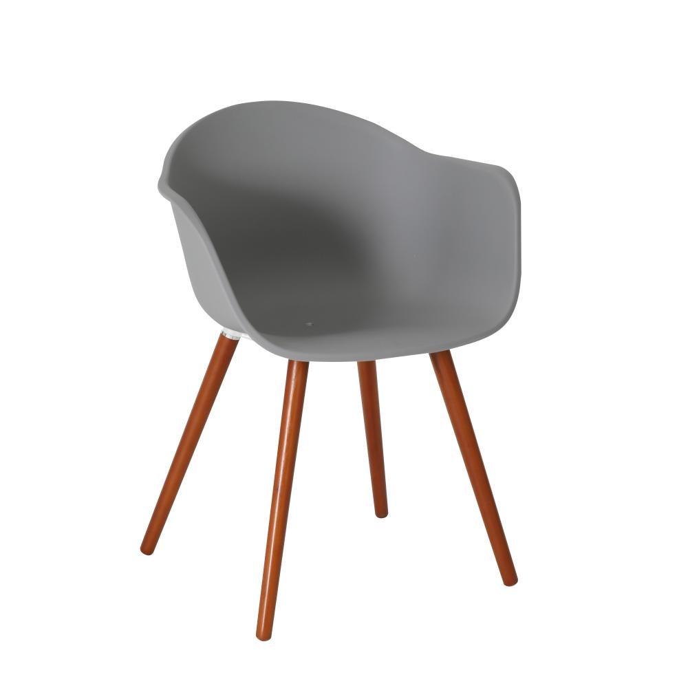 greemotion 2 Stück Stuhl Derby mit Holzbeinen, Designerstuhl, Kunststoffschale mit Armlehnen, 52 x 81 x 58 cm, Garten und Haus, max. 110 kg, in grau