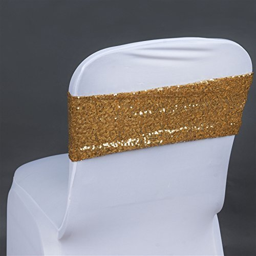 TRLYC 10PCS Wedding Spandex Chair Sash-Gold 4x16