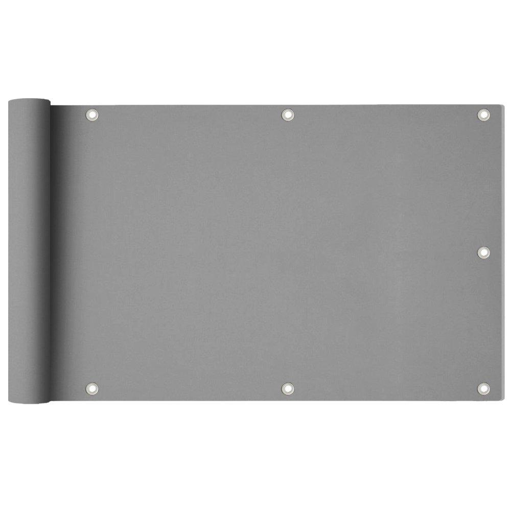 HENGMEI 90X600cm Rivestimento Recinzione Copertura per Balcone Privacy Frangivista e telo frangivento Telo di protezione per balconi, grigio