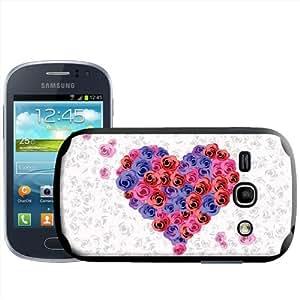 Fancy A Snuggle - Carcasa rígida para Samsung Galaxy Fame S6810, diseño de corazón de rosas