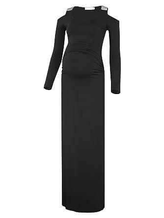 30d95b8ac3f BlackCherry Women s Long Sleeve Cold Shoulder Side Ruched Maternity Maxi  Dress