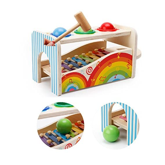 FunBlast Colorful Wooden Pounding Bench with Hammer Knock, Multifunction Hammering Wooden Ball Toys with Xylophone