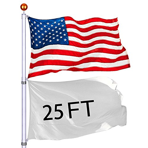 - Eazon 25 ft Telescopic FlagPole Kit Aluminum Fly 2 Flags Free 3'x5' US Flag & Gold Ball Top Finial in Ground Hardware Outdoor Festival Décor