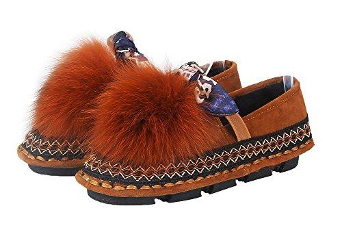 Amoonyfashion Womens Ronde Dichte Teen Lage Hakken Pu Stevige Pull-on Pumps-schoenen Bruin