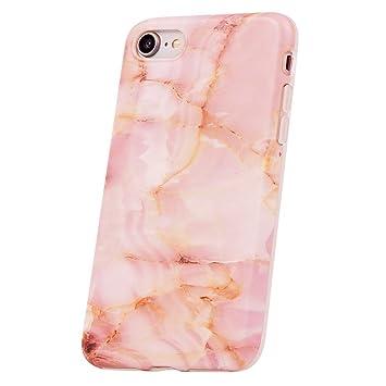 QULT Carcasa para Móvil Compatible con iPhone 6 iPhone 6S Funda marmol Rosa Silicona Flexible Bumper Teléfono Caso para iPhone 6/6S Marble Pink