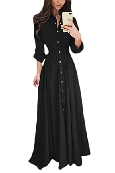 2a809102814 Vepodrau Women Maxi Dresses Casual Long Sleeve Fit and Flare Shirt Dress at  Amazon Women s Clothing store
