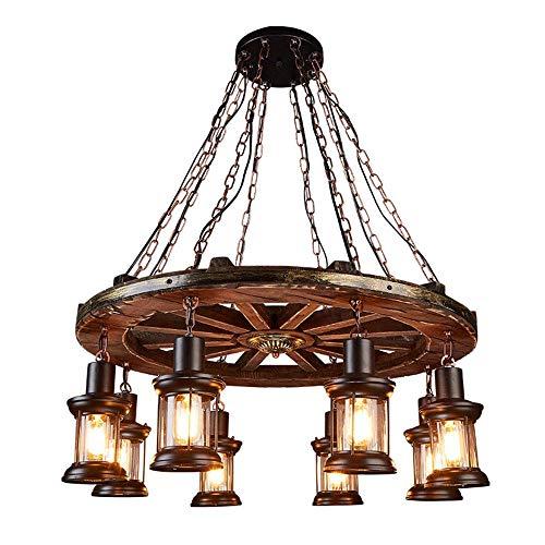 AILSAYA Industrial Rustic Wood Beam Linear Island Pendant Light 8-Light Chandelier Lighting Hanging Ceiling Fixture Retro Design Wooden Wheel Home Decor Cafe Living Room - Lighting Wagon Wheel