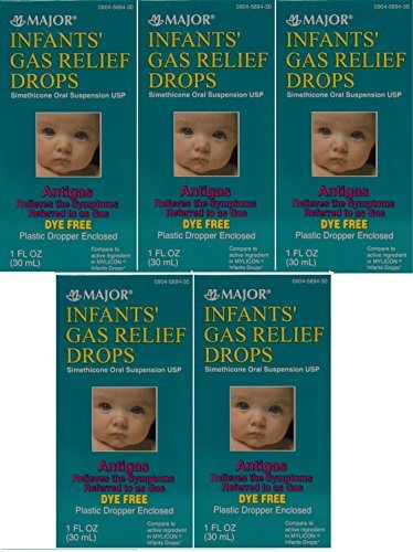 Newborns, Infants & Children Gas Relief Simethicone 20 mg/0.3ml Drops Dye Free Generic for Mylicon 1 oz (30ML) Total 5 oz by Major Pharmaceuticals