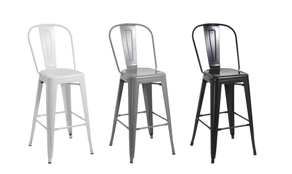 1 Sgabello da Bar in Metallo Bianco con Schienale Stile Vintage Altezza del Sedile 77 cm Design Industriale Selezione Colore Duhome 636