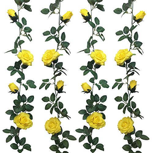 Jing-Rise 2pcs 6.5Ft Artificial Silk Rose Vine Fake Flower Hanging Garland Artificial Plants For Wedding Party Garden Outdoor Home Hotel Office Shop Arch Wall Mirror Decoration (Yellow)