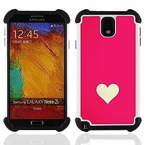 SAMSUNG Galaxy Note 3 III / N9000 / N9005 - 3 en 1 impreso colorido de Altas Prestaciones PC Funda chaqueta Negro cubierta gel silicona suave (Minimaliste Rose Blanc Valentines)