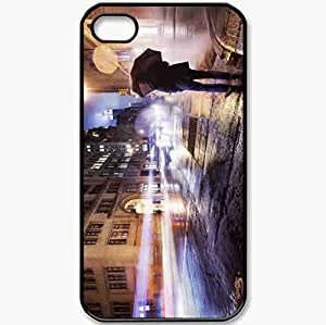 Protective Case Back Cover For iPhone 4 4S Case Evening Lights People Black