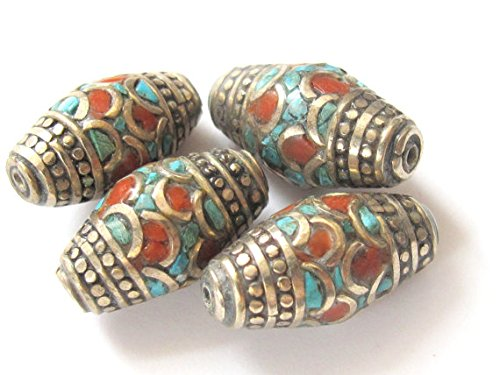 (Gorgeous nepalese brass beads with turquoise coral inlay - 2 beads - BD237)