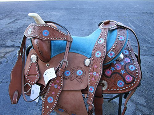 Orlov Hill Leather Co 12 13 TURQUOISE BLUE PINK PONY YOUTH KIDS CHILD KID CHILDREN MINI BARREL RACING LEATHER WESTERN HORSE SADDLE TACK (12)