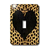 3dRose LLC lsp_20394_1 Punk Rockabilly Cheetah Animal Print Black Heart - Single Toggle Switch