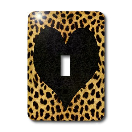 3dRose LLC lsp_20394_1 Punk Rockabilly Cheetah Animal Print Black Heart - Single Toggle Switch by 3dRose
