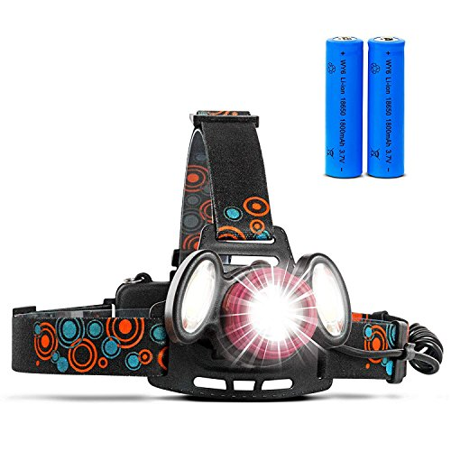 KALMIRIS Rechargeable Headlamp – IPX5 Waterproof Bright Cree Zoomable Headlamp – 600 Lumen LED Headlamp.