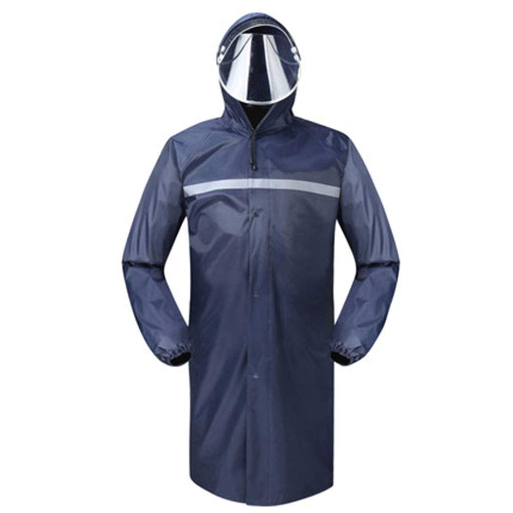 XJRHB Long Raincoat Outdoor Thickening Windbreaker Poncho, Suitable for Camping/Hiking/Travel/Sports, Multi-Color Optional (Color : Navy, Size : L) by XJRHB
