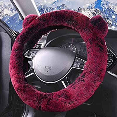 FH Group FH2011BURGUNDY Steering Wheel Cover Cute and Fluffy Koala Bear Universal Plush Steering Wheel Cover fits Most Cars, Trucks, SUVs, and Vans: Automotive