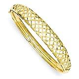 14k Yellow Gold Polished Open back Safety bar Sparkle-Cut 6.25-12.5mm Graduated Fancy Weave Hinged Bangle Bracelet