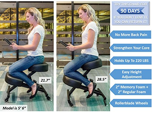 Sleekform Ergonomic Kneeling Chair M2 (Memory/Regular Foam), Adjustable Stool for Home, Office, and Meditation by Sleekform (Image #3)