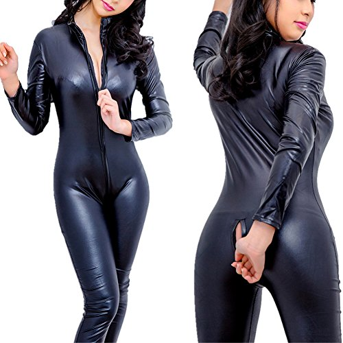 edf5e9a413830 Sorrica Women's Sexy Pu Faux Leather Catsuit Teddy Clubwear