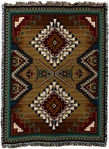 (Pure Country Weavers - Brazos Geometric Woven Tapestry Throw Blanket with Fringe Cotton Made In The USA Size 72 x 54)