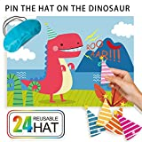 Dinosaur Party Game for Dino Themed Party Supplies,Fun Birthday Party Favors,Pin The Hat On T-Rex,24 Reusable Hats,Fabric T-Rex Poster,Blindfold Mask,Dinosaur Park Party Activities set for Kid/Boy