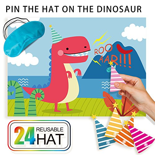 Dinosaur Party Game for Dino Themed Party Supplies,Fun Birthday Party Favors,Pin The Hat On T-Rex,24 Reusable Hats,Fabric T-Rex Poster,Blindfold Mask,Dinosaur Park Party Activities set for Kid/Boy -