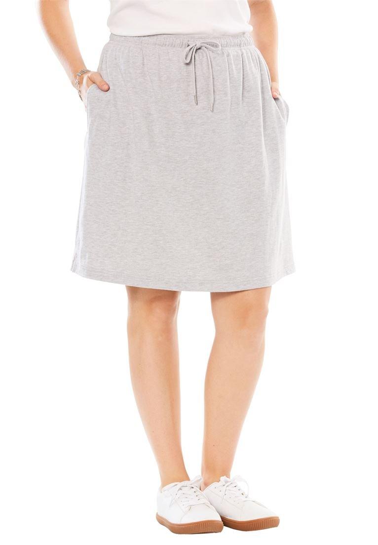 Women's Plus Size Sport Knit Skort Heather Grey,1X