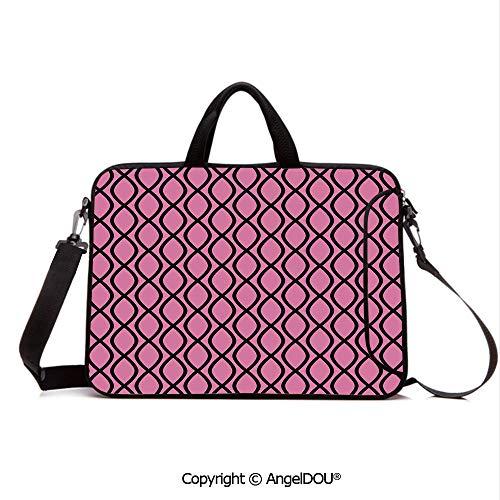 AngelDOU Portable Ultrabook Soft Sleeve Laptop Bag Case Cover Vertical Wavy Lines Tangled Stripes Curves Girlish Feminine Design Cute Modern D Compatible with MacBook Asus Acer HP Pink Black ()
