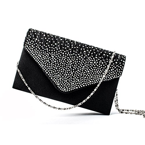 Envelope Party studded Evening Clutch Women's Wedding PROKTH Nero Bag Handbag Rhinestone Bag Satin Wedding wIqWzFHX